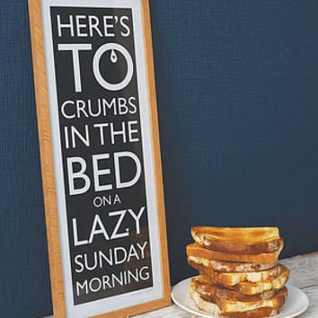 Crumbs in the Bed print by mary fellows | notonthehighstreet.com