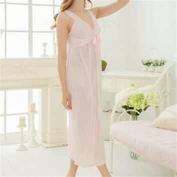 New Arrivals Lace Nightgowns Soft Home Dress Vintage Sleep Shirts Sexy Nightwear Spaghetti Strap Solid Nightgown Female