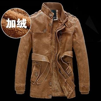 2015 winter fashion Warm Leather trench Coat male fur lined slim fit long Dust coat with belt men leather outerwear Asia S-XXXL