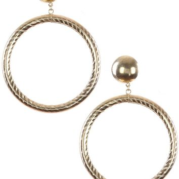 Gold Hollow Metal Hoop Chunky Dangle Ring Earring
