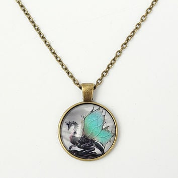 Vintage Unisex Dragon Round Glass Cabochon Pendant Necklace
