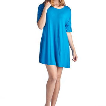 82 Days Women'S Rayon Span Basic Round Neck Short Sleeves Mini Dress - Solid