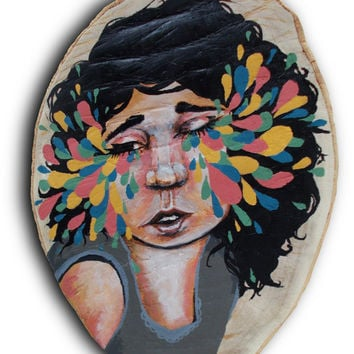 Original Painting on a Log Acrylic, painting, Ben Geiger, art, colorful
