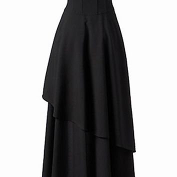 Streetstyle  Casual Lace-Up Plain Flared Maxi Skirt