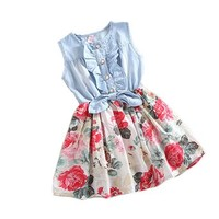 Urparcel Girls Princess Dress Denim Skirts Bow Flower Ruffled Cute Sundress 2-6y