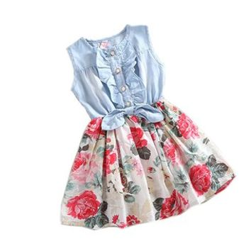 PanDaDa Girls Princess Dress Denim Skirts Bow Flower Ruffled Cute Sundress 2-6y
