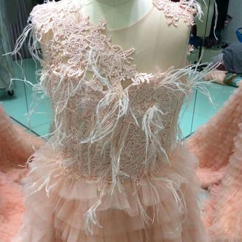 Gorgeous Long Children Dress Orange Many Layer Tulle Feathers Flower Girl Evening Gown Lace Appliques Gown