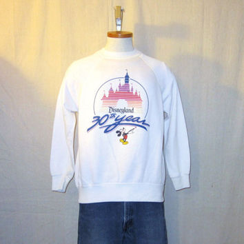 Vintage 1985 MICKEY MOUSE GRAPHIC Anniversary Disney California Jumper Unisex Small Medium 50/50 Crewneck Sweatshirt