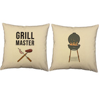 Set of 2 Grill Master Pillows - Barbecue Print Pillow Covers with or without Cushion Inserts - Father's Day, Gifts for Guys, Birthday Gift