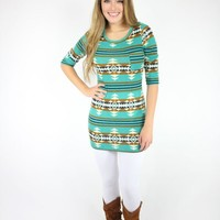 Teal Tribal Print Mini Sweater Dress
