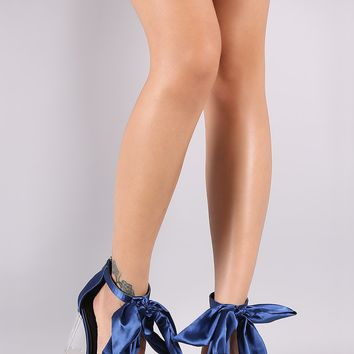Satin Ankle Bow Clear Rhinestone Open Toe Chunky Heel