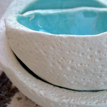 Ceramic turquoise bowl set of two by azulado on Etsy