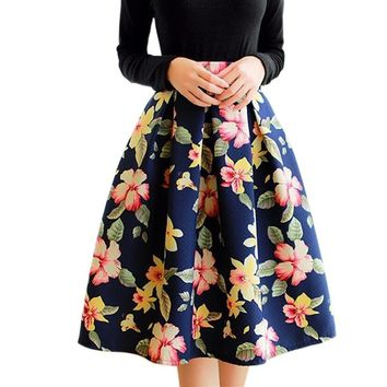 Women  Dark Floral Prints Pattern  Pleated Umbrella Skirts 2016 Female New Fashion Vintage Skirt  Midi saias femininas
