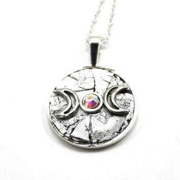 Triple Moon Goddess Silver Inlay Pendant