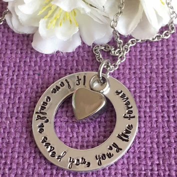 Urn Cremation Jewelry - Memorial Jewelry Necklace - If love could've saved you - Remebrance - Sympathy Gift - Urn