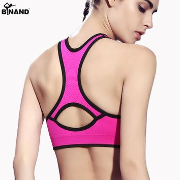 Gym Running Shockproof no rims Women vest Push up Racerback Yoga Top Fitness Seamless Workout Solid Heart-shaped Sports Bra