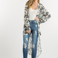 Makenna White and Black Printed High Low Blouse