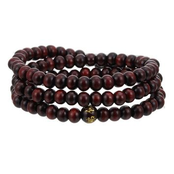 Vintage 6mm 108 Beads Natural Sandalwood Buddhist Buddha Wood Bracelets Meditation Prayer Beaded Mala Bracelet Women Men Jewelry