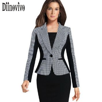New Women Autumn Winter Long Sleeve Houndstooth Single Button Blazers Contrast Colorblock Short Coats Plus size 3XL Blazers 130