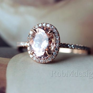 Gifts! 14k Rose Gold Engagement Ring With Classic Oval Cut 7*9mm Morganite Pave Diamond Wedding Ring Gemstone Ring Morganite Engagement Ring