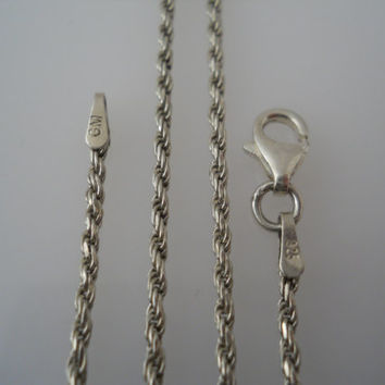 Sterling Silver 925 Rope Chain Necklace 25 in 1.8mm GM Italy 925