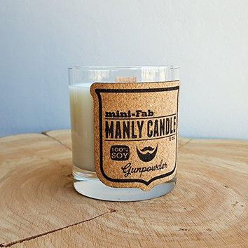 Manly Soy Candle - Gunpowder Scent Hand Poured into a Whiskey Glass with a Wood Wick