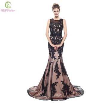 Fashion Black Lace Luxury Mermaid Evening Dress Long Floor Small Tail Bride Elegant Prom Dress Custom