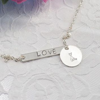 Bar Charm Love Cat Face Handmade Stamp Necklace Minimalist Lariat Silver Women