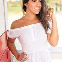 Ivory Off Shoulder Top with Crochet Trim Detail
