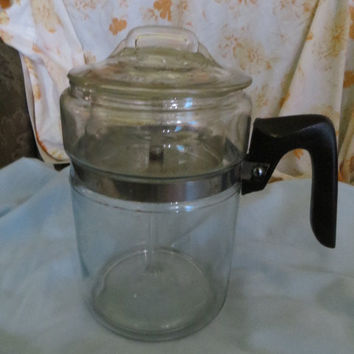 Vintage 1950s Pyrex Flameware  Glass Percolator With Lid and Basket 8 cup