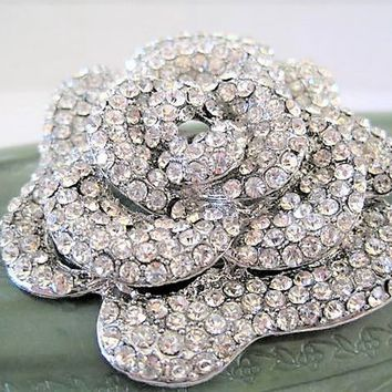 Clear Rhinestone Brooch Swirled Rose Petals, All Brilliant Clear Stones. Silver Tone Setting