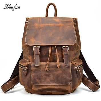 Men vintage crazy horse leather backpack Unisex cow leather Laptop rucksack Women Thick real leather school bag casual bag
