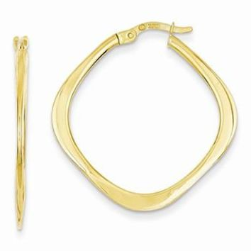 14k Yellow Gold Tapered Square Hoop Earrings