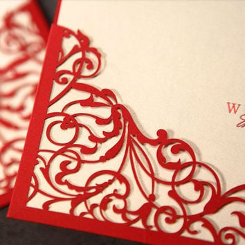 Red Lace Laser Cut Pocket Wedding Invite Customized and Printable Groom & Bride Design - Pack of 50