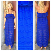 Royal Blue Texture Strapless Maxi Dress