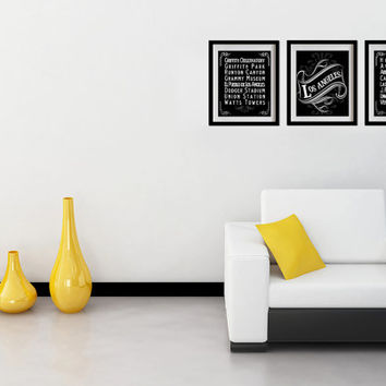 Los Angeles, California, Typography Art Posters - Set of 3 - 8X10 - Chalk Art - Los Angeles' Attractions Wall Art Decoration - 030-S3-8X10