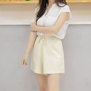 shorts women short femme 2017 new summer style hot loose linen casual thin mid black white casual short women's plus size S-3XL