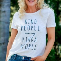 Kind People Print T-Shirt Off White