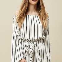 LA Hearts Long Sleeve Off-The-Shoulder Tie Front Romper at PacSun.com