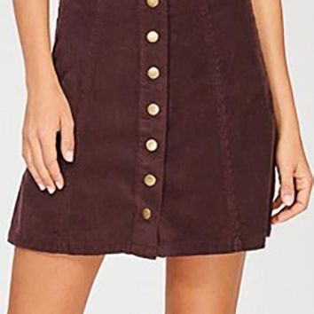 Until Fall Fades Mini Skirt - Burgundy