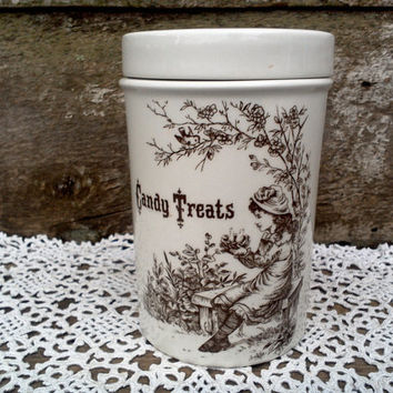 "Brown Transferware ""Candy Treats"" Ironstone Jar, Burleighware, Burslem England, Burgess and Leigh, Storage, Transferware, Treats Jar"