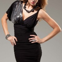 Black Sequin Sleeve Mini Dress - Diva Hot Couture