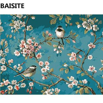 BAISITE Frameless DIY Oil Painting Pictures By Numbers On Canvas Wall Pictures Wall Art For Living Room Home Decoration e740