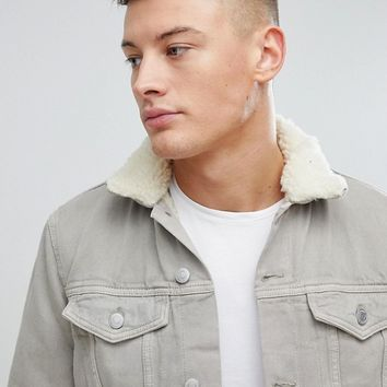 New Look Borg Lined Denim Jacket In Stone at asos.com