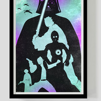 Star wars print darth vader luke skywalker han solo princess leia c3po art movie poster geek