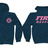 Fire Rescue Navy/Pink Zipper Hooded Sweatshirt