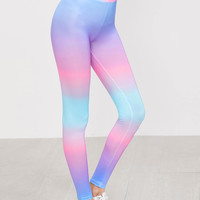 Multicolor Pastel Ombre High Waist Leggings