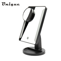Adjustable 36 LED Light Cosmetic Square Vanity Desk Stand Makeup Mirror + 10X Magnifying Round Mirror With Sucker USB Charging
