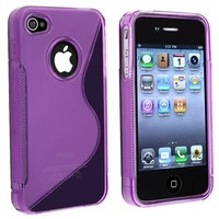 eForCity TPU Rubber Skin Case Compatible With Apple® iPhone® 4, Clear Dark Purple S Shape