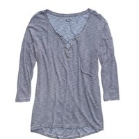 AERIE COMFY STRIPED LACE-UP T-SHIRT